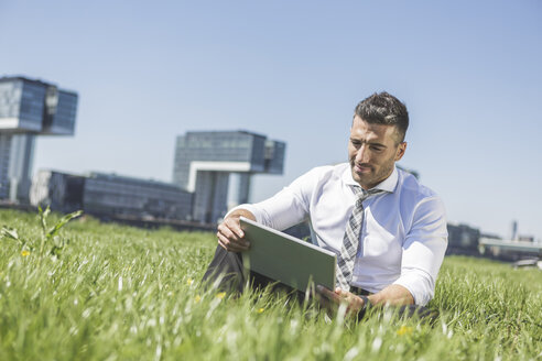 Germany, Cologne, businessman using digital tablet in meadow - MADF000906