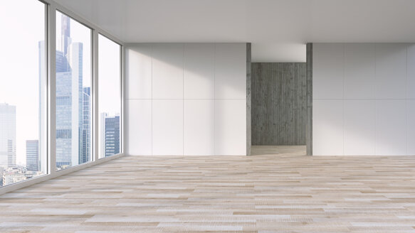 Empty apartment with wooden floor, 3d Rendering - UWF000900
