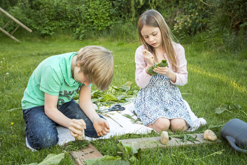 Brother and his little sister playing 'cooking' with herbs on a meadow - SARF002731