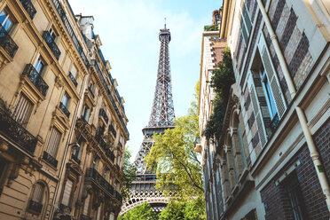 France, Paris, Eiffel Tower among buildings - GEMF000913
