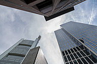 Germany, Frankfurt, office towers at financial district seen from below - JUN000534