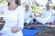Elderly couple practicing yoga together with instructor - ZEF008688