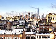 USA, New York, New York City, Manhattan, cityscape, One World Trade Center in the background - JLRF000050
