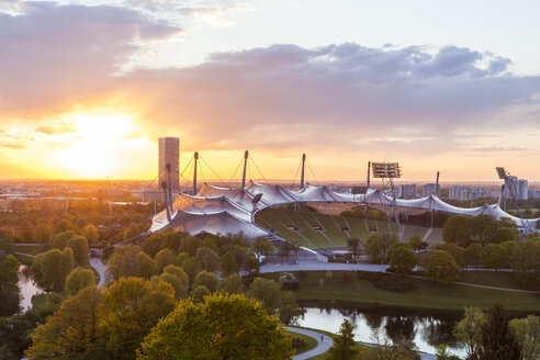 Germany, Munich, Olympic Park with stadium at twilight - WDF003620