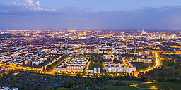Germany, Munich, view to cityscape at twilight - WDF003623