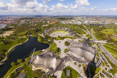 Germany, Munich, Olympic Park with stadium seen from above - WD003653