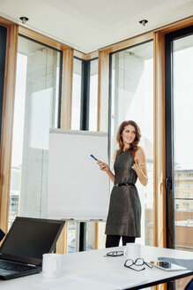 Businesswoman leading a presentation at flip chart - CHAF001762