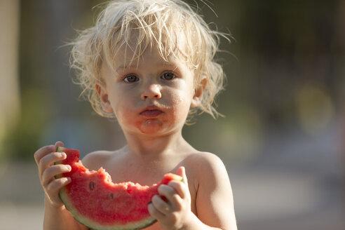 Little boy eating watermelon - SBOF000039
