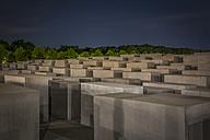 Germany, Berlin, Holocaust memorial at night - NK000466
