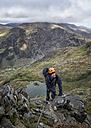 UK, North Wales, Snowdonia, Cwm Glas, Garnedd Ugain, Clogwyn y Parson, mountaineer - ALRF000525