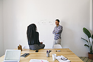 Young businessman and woman preparing meeting in office - EBSF001435