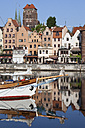 Poland, Gdansk, view to the Old Town with sailing boat on Motlawa River in the foreground - ABOF000092