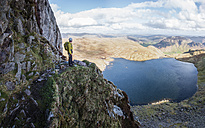England, Cumbria, Lake District, Langdale, Pavey Ark and Stickle Tarn, Jack's Rake, climber - ALRF000550