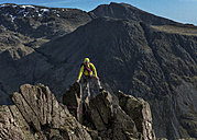 England, Cumbria, Lake District, Wasdale Valley, Great Gable, climber - ALRF000574