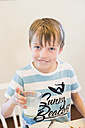 Boy drinking glass of milk - MJF001846