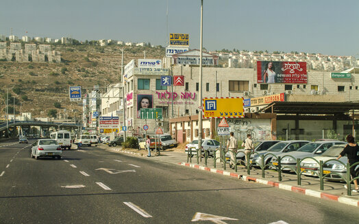 Israel, Haifa, access road with supermarkets at the outskirts - HWO000132
