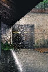 Germany, Bavaria, Burghausen, summer rain, bathing cabin - HAMF000207