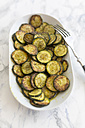 Plate of fried courgette slices - SARF002782