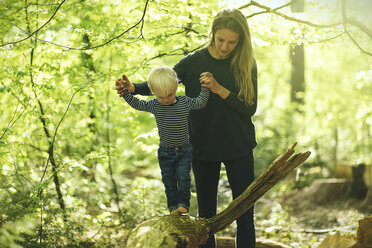 Mother and son in forest - SBOF000141