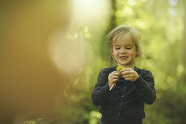 Girl in forest examining dandelion - SBOF000156