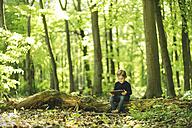 Girl in forest using digital tablet - SBOF000162