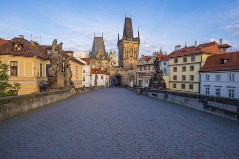 Czechia, Prague, Old town, Kleinseite Bridge Tower in the evening - WGF000881