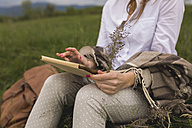 Woman sitting on a meadow using digital tablet holding grasses in one hand, partial view - BOYF000429