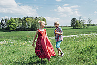 Happy boy and girl in meadow - MJF001914