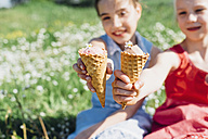 Two girls in meadow holding ice cream cones - MJF001947