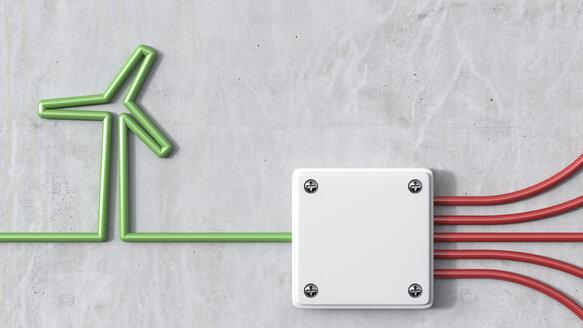 3D Rendering, wind energy and distributor, green wind wheel - AHUF000185