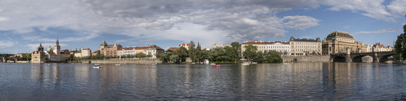 Czechia, Prague, Panorama of Vltava riverside between Charles Bridge and National Theater - MELF000119