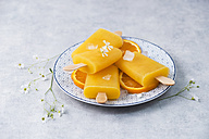 Dish with homemade orange popsicles - MYF001623