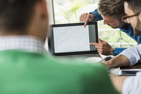 Three businessmen analysing line graphs on laptop monitor - UUF007873