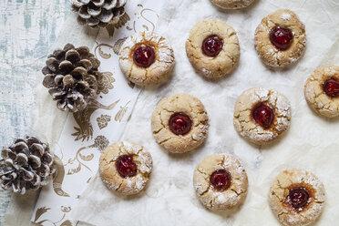 Home-baked Christmas cookies, thumbprint cookies, seasonal decoration - SBDF002991
