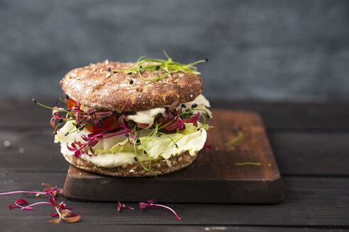 Veggie Burger, vegan, with salad, radish, tomato, rock chive - MYF001640