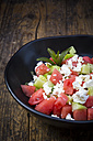 Bowl of salad with watermelon, cucumber, mint and feta - LVF005033