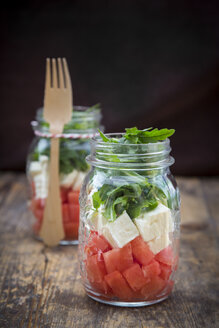 Salad with watermelon, rocket and feta in glasses - LVF005039