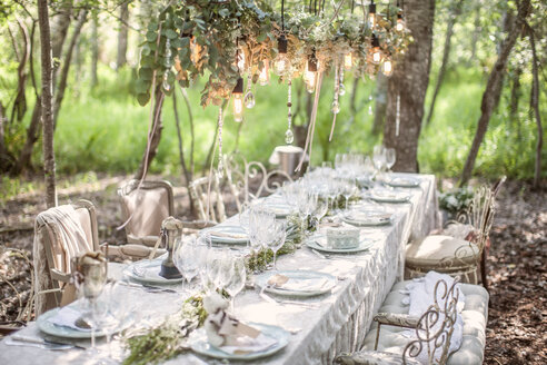 Laid table for a wedding under trees - ZEF008858