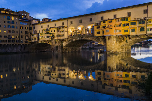 Italy, Tuscany, Florence, Ponte Vecchio at blu hour - FMOF000056