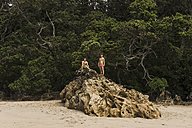 New Zealand, two friends on a big rock on the beach - UUF007935