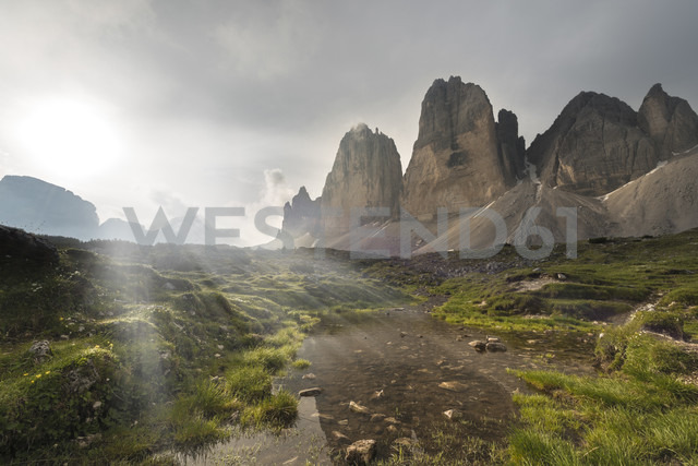 Italy, Dolomites, Tre Cime di Lavaredo in the morning - MKFF000295