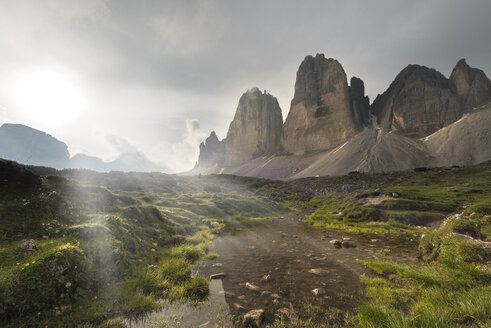Italy, Dolomites, Tre Cime di Lavaredo in the morning - MKFF000295