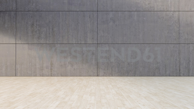 Empty room with concrete wall and wooden floor, 3D Rendering - UW000907 - HuberStarke/Westend61