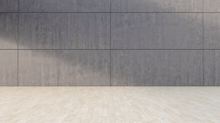 Empty room with concrete wall and wooden floor, 3D Rendering - UW000907
