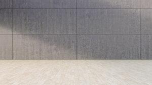 Empty room with concrete wall and wooden floor, 3D Rendering - UW000907