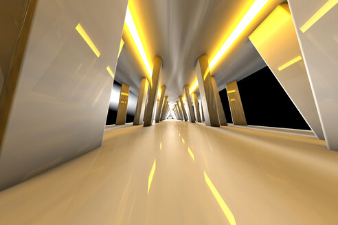 Futuristic room with yellow lights, 3D Rendering - SPCF000085