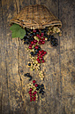 Wickerbasket and black, red and white currants on dark wood - LVF005108