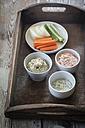 Tomato dip, avocado dip and herb dip and row food - EVGF003000
