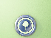 Push button with green tree icon - AHUF000188