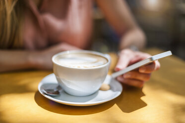 Woman sitting in a coffee shop with Cappuccino holding smartphone, close-up - DIGF000763